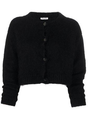 Miu Miu Textured Cropped Cardigan MMF2421WSF Black   Farfetch