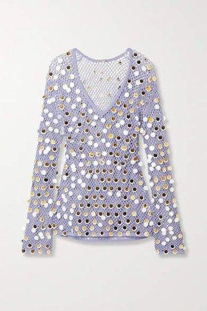 Paillette-embellished Crochet-knit Mini Dress - White
