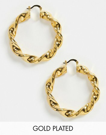 Image Gang twist hoop earrings in 18K gold plate | ASOS