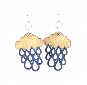 Rain Cloud Blossom Wood Earrings made from Eco Friendly Wood
