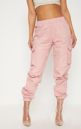 Petite Dusty Pink Pocket Detail Cargo Trousers | PrettyLittleThing
