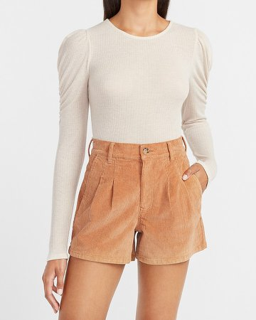 High Waisted Pleated Corduroy Shorts