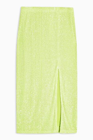 Neon Green Sequin Pencil Skirt | Topshop
