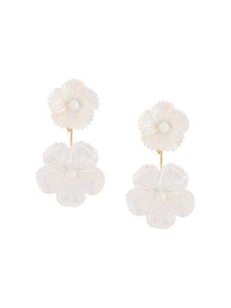 Jennifer Behr Zinnia flower earrings white 76RB8 - Farfetch