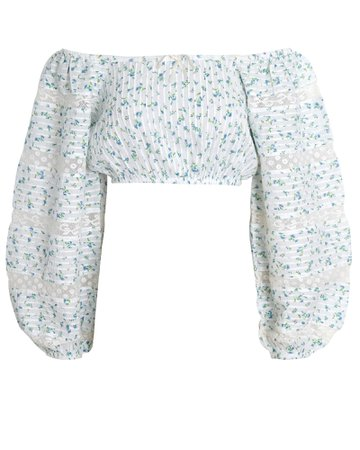 LoveShackFancy Albertina Floral Cotton Crop Top | INTERMIX®