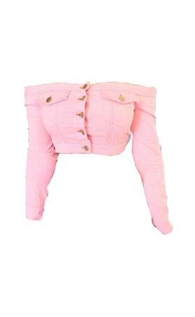 Pink Cropped Jean Jacket