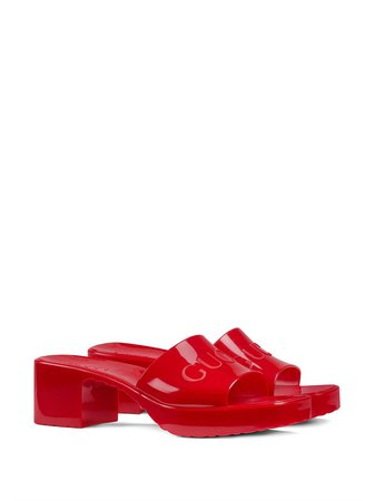 red Gucci logo low-heel slide sandals with Express Delivery - Farfetch