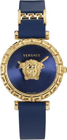 Palazzo Empire Greca Leather Strap Watch, 37mm