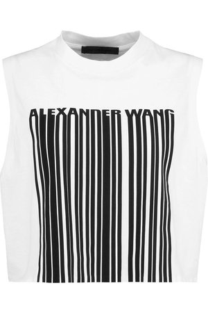 ALEXANDER WANG Printed Cropped Cotton Top in Bleachbianco