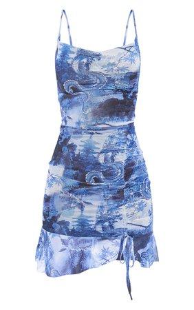 Blue Mesh Oriental Print Ruched Bodycon Dress | PrettyLittleThing