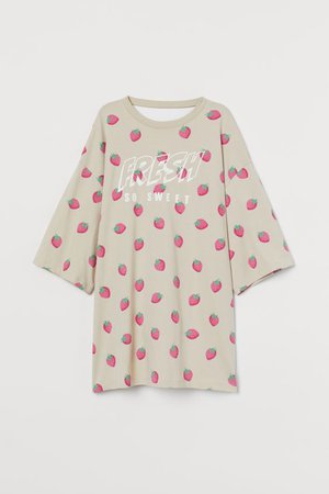 Oversized T-shirt - Beige raspberry - Ladies | H&M US