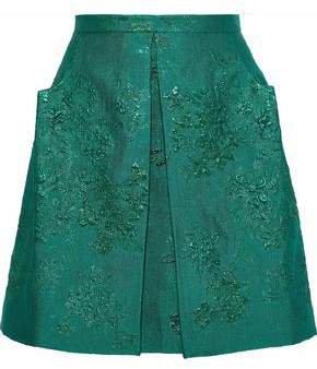 Pleated Brocade Mini Skirt