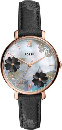 Fossil Women's Jacqueline Stainless Steel Quartz Watch with Leather Strap, Black, 14 (Model: ES4535): Fossil: Watches