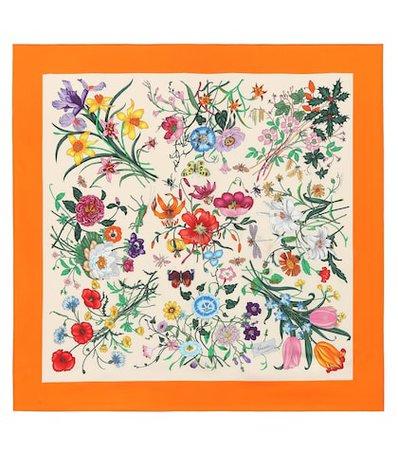 Floral-printed silk twill scarf