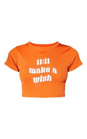 Petite Orange 11:11 Slogan Rib T Shirt | PrettyLittleThing USA