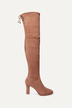 Light brown Ledyland suede platform over-the-knee boots   Stuart Weitzman   NET-A-PORTER