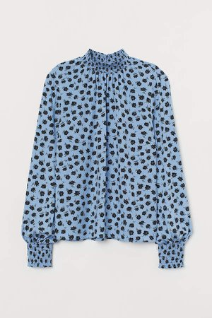Stand-up Collar Blouse - Blue