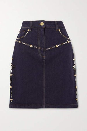 Embellished Denim Mini Skirt - Indigo