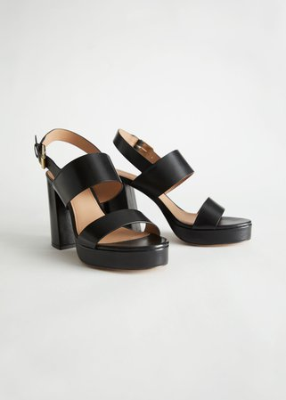 Leather Block Heeled Platform Sandals - Black - Heeled sandals - & Other Stories