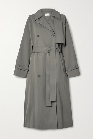 Kareem Belted Double-breasted Shell Trench Coat - Army green