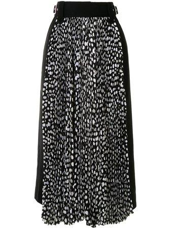Sacai animal-print Pleated Skirt - Farfetch