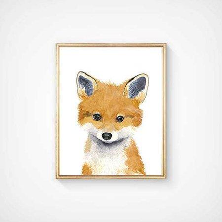 Woodland babies Set of 3 Prints Animal Paintings fox bear