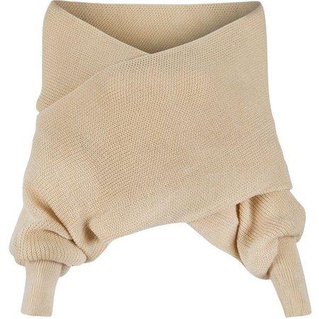 Off Shoulder Cropped Beige Sweater