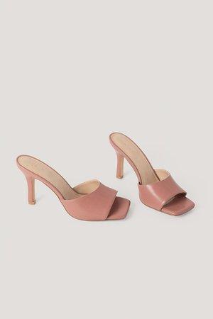 Squared Toe Stiletto Mules Pink | na-kd.com