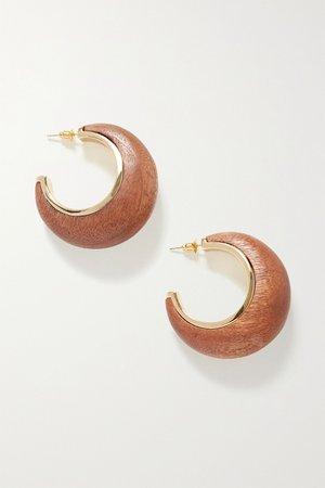 Gold Mona gold-tone wood hoop earrings   Cult Gaia   NET-A-PORTER