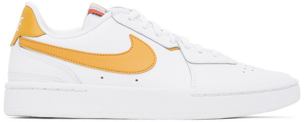 White and Yellow Leather Court Blanc Sneakers