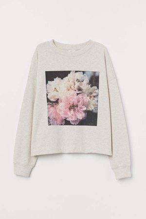 Cotton-blend Sweatshirt - Beige