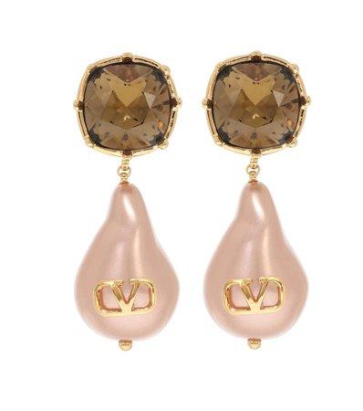 Valentino, Valentino Garavani VLOGO bead pearls and crystal earrings