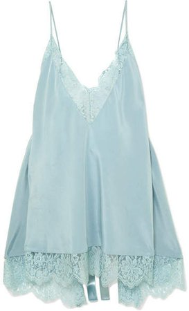 Open-back Lace-trimmed Silk Camisole - Blue