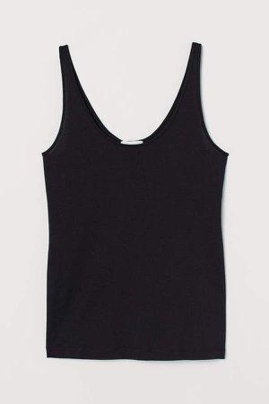 Silk-blend Camisole Top - Black