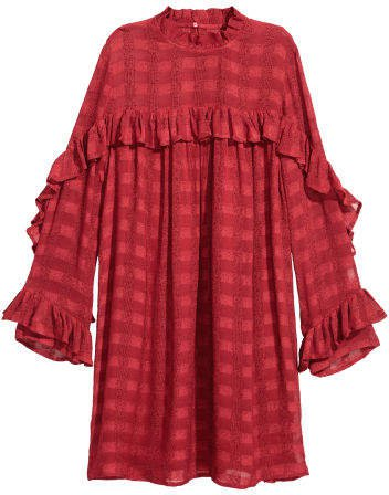 Textured-weave Dress - Red