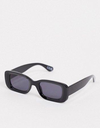 ASOS DESIGN square bevelled sunglasses in black | ASOS