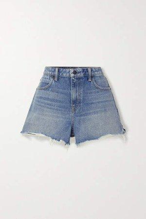 Bite Frayed Denim Shorts - Blue