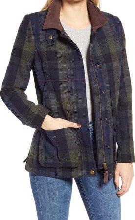 Wool Blend Tweed Field Coat