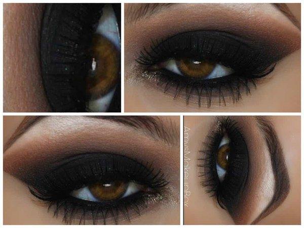 black eyeshadow brown eyes makeup