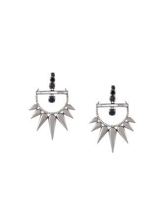 Elise Dray 18kt gold and diamond drop spiked earrings ED1727 metallic & black | Farfetch