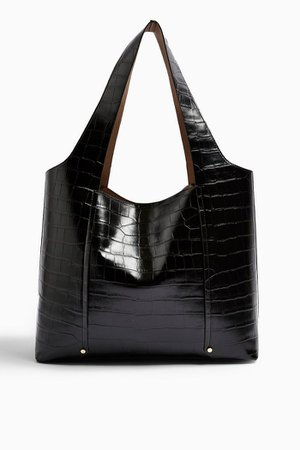 TAYLOR Black Crocodile Tote Bag | Topshop