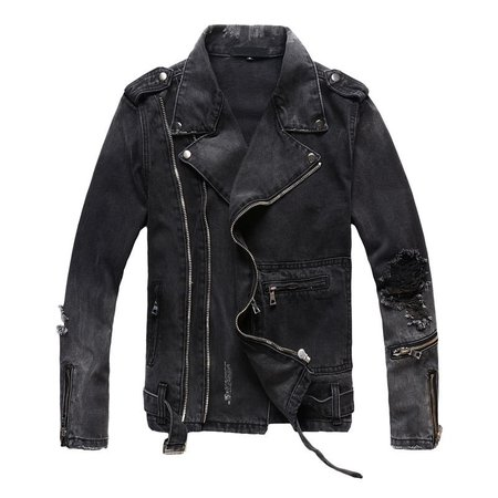 Idopy New Fashion Hi Street Mens Ripped Denim Jackets With Multi Zippers Streetwear Distressed Motorcycle Biker Jeans Jacket-in Jackets from Men's Clothing on AliExpress