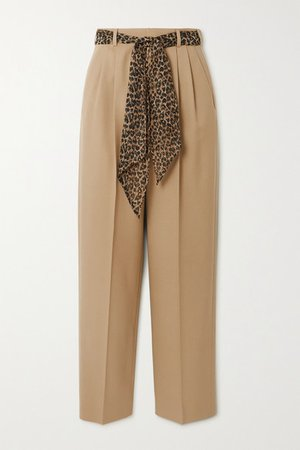 Belted Wool-gabardine Straight-leg Pants - Beige