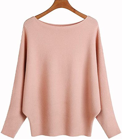 Ckikiou Women Sweaters Batwing Sleeve Casual Cashmere Jumpers Winter Pullovers (Beige) at Amazon Women's Clothing store