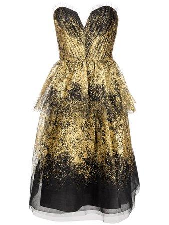Marchesa Notte Strapless Draped Dress - Farfetch