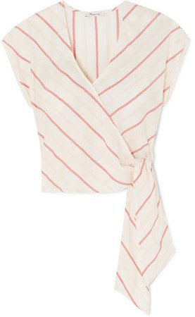 Striped Cotton-voile Wrap Top - White