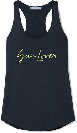 Paradised - Embroidered Cotton-blend Jersey Tank - Midnight blue