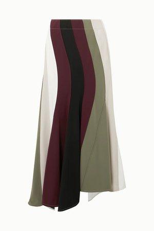 JW Anderson | Paneled asymmetric striped cady skirt | NET-A-PORTER.COM