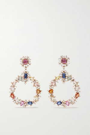 Rose gold 18-karat rose gold, sapphire and diamond earrings | SUZANNE KALAN | NET-A-PORTER