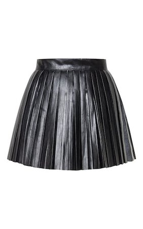 Black Faux Leather Pleated Skater Skirt | PrettyLittleThing